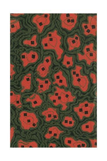 Red Shapes Surrounded by Green-Found Image Press-Giclee Print