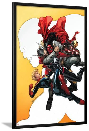Red She-Hulk #60 Cover Featuring Red She-Hulk, Thor, Iron Man, Captain Marvel-Carlo Pagulayan-Lamina Framed Poster