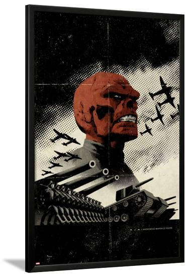 Red Skull No.3 Cover: Redskull Portrait Amidst Tanks and Planes-David Aja-Lamina Framed Poster