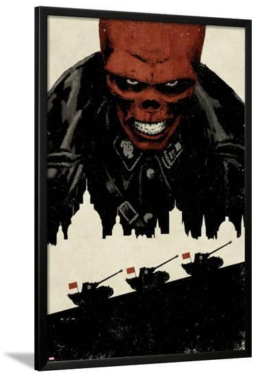 Red Skull No.5 Cover: Portrait of Red Skull with Tanks and City Silhouette-David Aja-Lamina Framed Poster