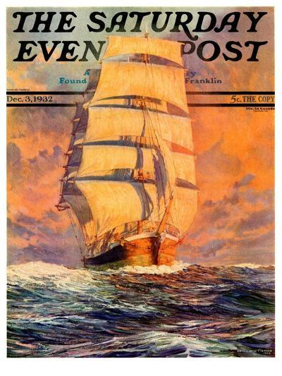 """""""Red Sky at Morning,"""" Saturday Evening Post Cover, December 3, 1932-Anton Otto Fischer-Giclee Print"""