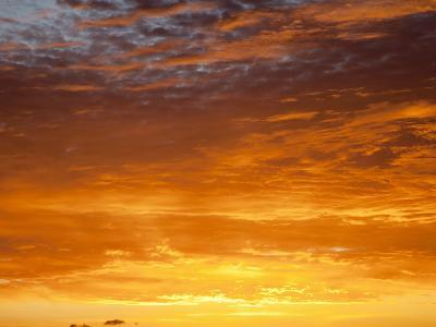 Red Sky at Sunrise over Atlantic Ocean, View from Miami Beach, Florida, USA, North America-Angelo Cavalli-Photographic Print