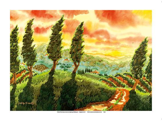 Red Sky over Tuscany Italy - Italian Vineyards, Cypress Trees-Robin Wethe Altman-Premium Giclee Print