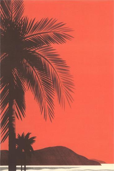 Red Sky, Palm Trees--Art Print