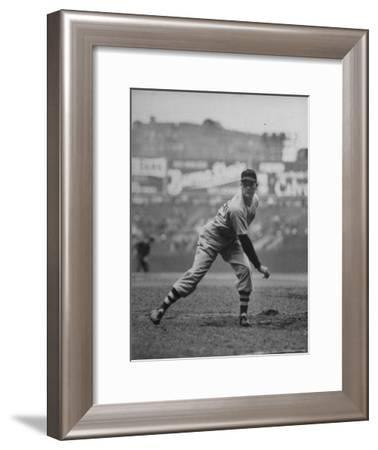 Red Sox Dave Ferriss Pitching to Yankee Player at Yankee Stadium During Game-Sam Shere-Framed Premium Photographic Print