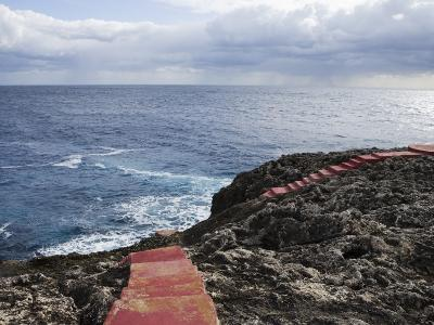Red Stairs on Black Rocks-Holger Leue-Photographic Print