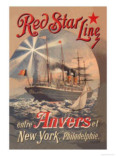 Red Star Cruise Line: Antwerp, New York, and Philadelphia-C^ Satzmann-Art Print