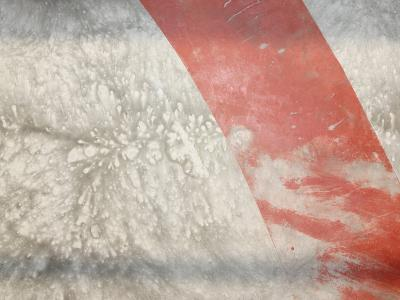 Red Stripe across Abstract Splash Pattern in Gray--Photographic Print