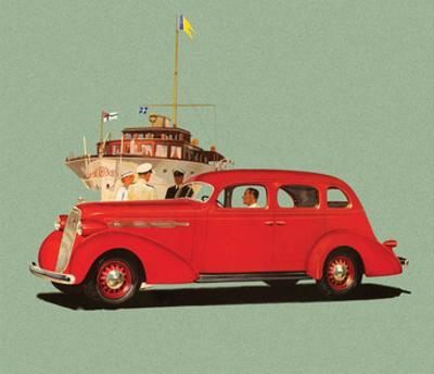 Red Studebaker Dictator, Vintage Car Advertising