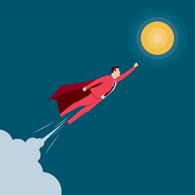 Red Suit Businessman. Super Hero. Concept Illustration-Suat Gursozlu-Art Print
