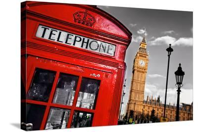 Red Telephone Big Ben London--Stretched Canvas Print