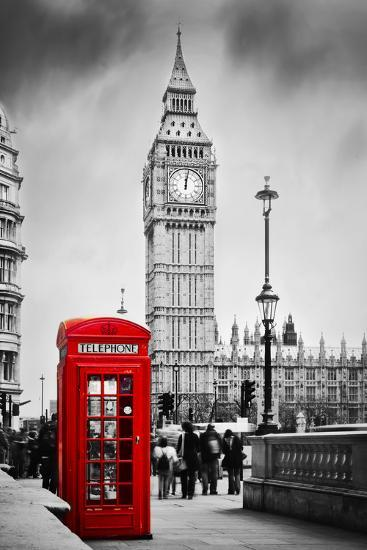 Red Telephone Booth and Big Ben in London, England, the Uk  People Walking  in Rush  the Symbols of Photographic Print by Michal Bednarek | Art com