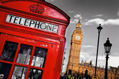 Red Telephone Booth and Big Ben in London, England, the Uk. the Symbols of London on Black on White-Michal Bednarek-Photographic Print