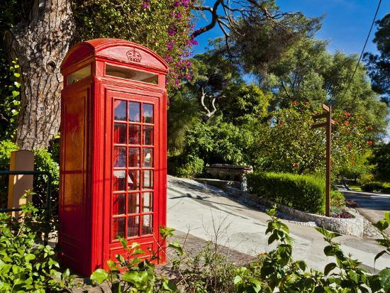 Red Telephone Box, Alameda Gardens, Gibraltar, Europe-Giles Bracher-Photographic Print