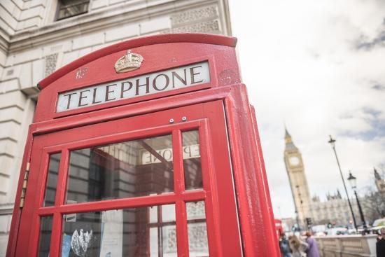 Red Telephone Box and Big Ben (Elizabeth Tower), Houses of Parliament, Westminster, London, England-Matthew Williams-Ellis-Photographic Print