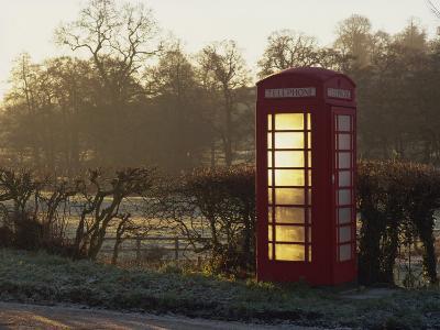 Red Telephone Box on a Frosty Morning, Snelston, Hartington, Derbyshire, England, UK-Pearl Bucknall-Photographic Print