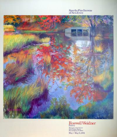 Red Trees and Bridge-R^ Weidner-Art Print