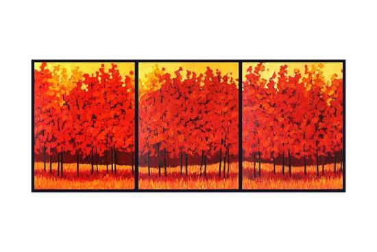 Red Trees Triptych-Patty Baker-Art Print