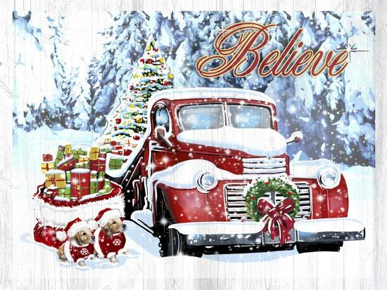 Red Truck Christmas-Old Red Truck-Giclee Print