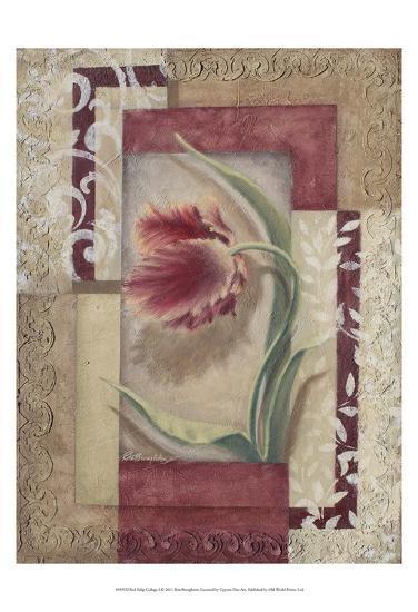 Red Tulip Collage I-Rita Broughton-Art Print
