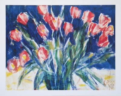 Red Tulips on Blue, 1930-Christian Rohlfs-Art Print