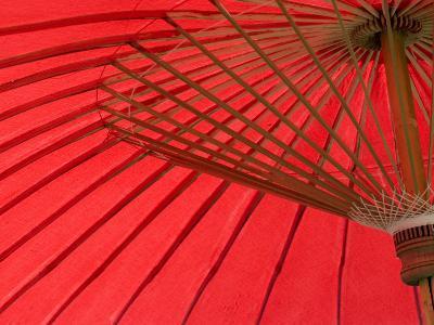 Red Umbrella, Chiang Mai, Thailand, Southeast Asia-Porteous Rod-Photographic Print