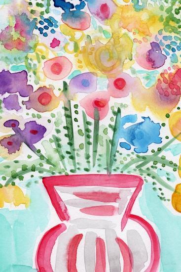 Red Vase of Flowers-Linda Woods-Art Print