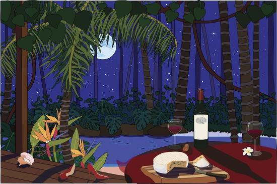 Red Wine And Cheese Under The Moonlight-Cindy Wider-Giclee Print