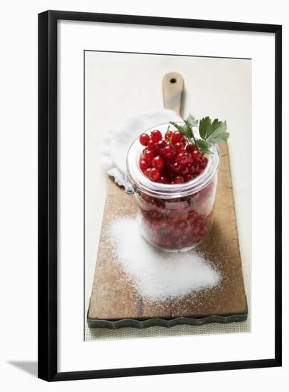 Redcurrants in Jam Jar, Sugar Beside It-Eising Studio - Food Photo and Video-Framed Photographic Print