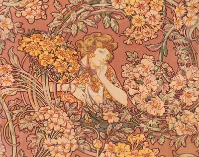 Redhead Among Flowers-Alphonse Mucha-Art Print