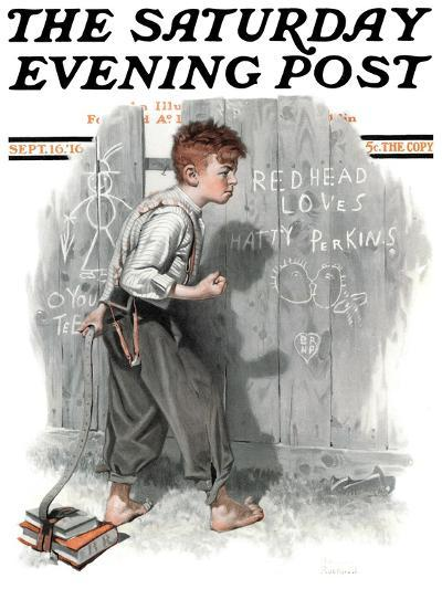 """""""Redhead Loves Hatti"""" Saturday Evening Post Cover, September 16,1916-Norman Rockwell-Giclee Print"""