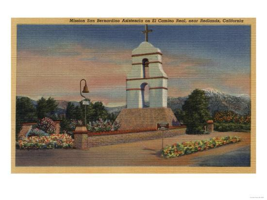 Redlands, California - Mission San Bernardino Asistencia-Lantern Press-Art Print