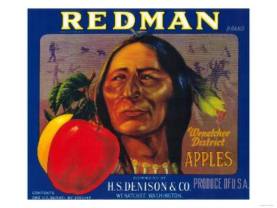 Redman Apple Label - Wenatchee, WA-Lantern Press-Art Print