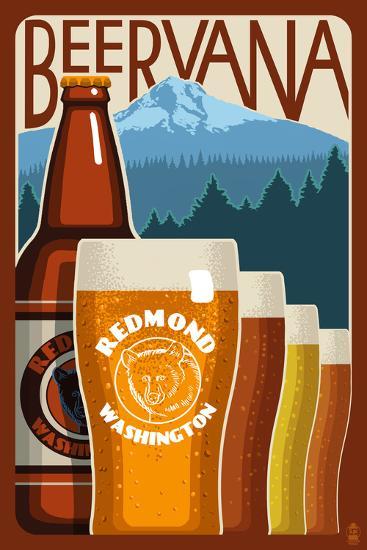 Redmond, Washington - Beervana Vintage Sign-Lantern Press-Wall Mural