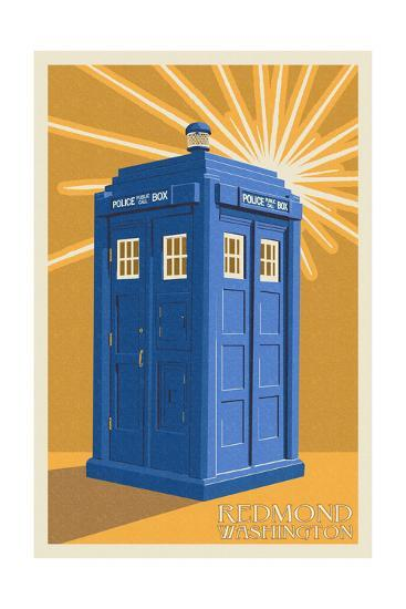 Redmond, Washington - British Police Call Box - Letterpress-Lantern Press-Art Print