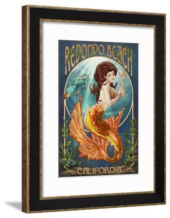 Redondo Beach, California - Mermaid-Lantern Press-Framed Art Print