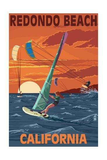 Redondo Beach, California - Wind Surfing-Lantern Press-Art Print