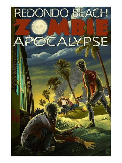 Redondo Beach, California - Zombie Apocalypse-Lantern Press-Art Print
