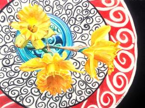 Flower on Plate II by Redstreake