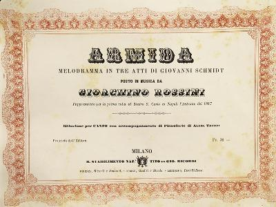 Reduced Piano and Vocal Score of 'Armida'--Giclee Print