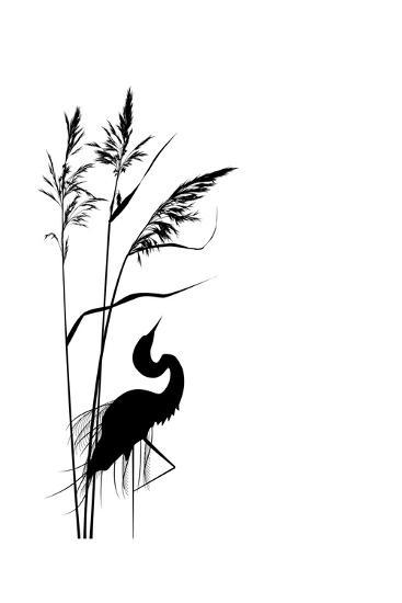 Reed and Heron-tanais-Art Print