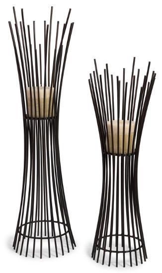 Reed Metal Candle Stand Pair *--Home Accessories