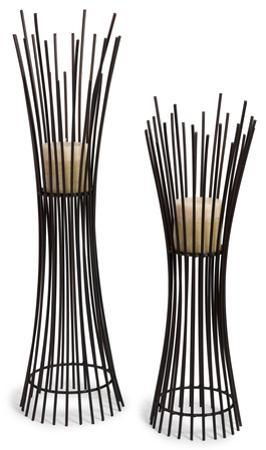 Reed Metal Candle Stand Pair *