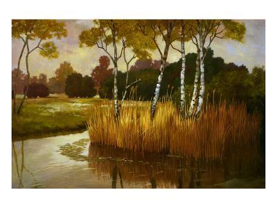 Reeds Birchs and Water II-Graham Reynolds-Art Print