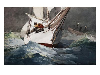 Reefing Sails Around Diamond Shoals, Cape Hatteras by Winslow Homer-Geoffrey Clements-Giclee Print