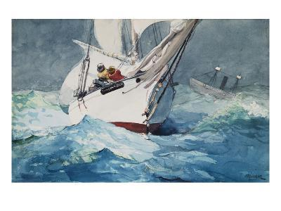 Reefing Sails Around Diamond Shoals, Cape Hatteras-Winslow Homer-Giclee Print