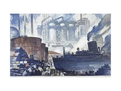 Refinery Turns Petroleum Into Gas for the War-Thornton Oakley-Giclee Print