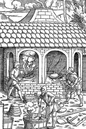 Refining Copper: Removing Cakes of Copper from the Crucible and Quenching in a Tub of Water, 1556--Giclee Print