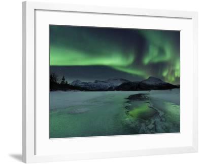 Reflected Aurora Over a Frozen Laksa Lake, Nordland, Norway-Stocktrek Images-Framed Photographic Print