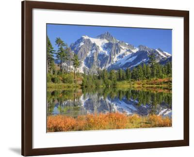 Reflected in Picture Lake, Mt. Shuksan, Heather Meadows Recreation Area, Washington, Usa-Jamie & Judy Wild-Framed Photographic Print